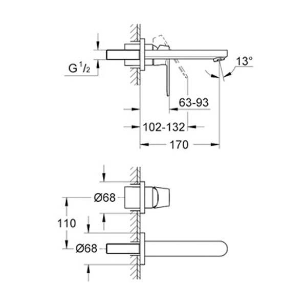 Grohe Eurocosmo İki Delikli Duvardan Lavabo Bataryası - 19381000