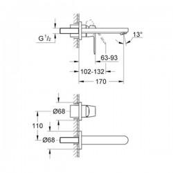 Grohe Eurocosmo İki Delikli Duvardan Lavabo Bataryası - 19381000 - Thumbnail