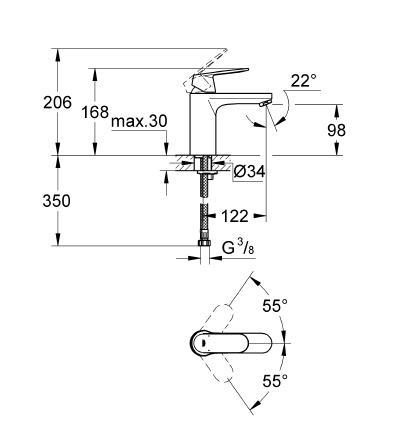 Grohe Eurocosmo Tek Kumandalı Lavabo Bataryası - 23327000