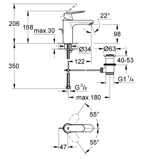 Grohe Lavabo Bataryası Eurosmart Cosm M-Boyut Krom - 23325000