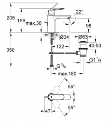 Grohe Lavabo Bataryası Eurosmart Cosm M-Boyut Krom - 23325000 - Thumbnail