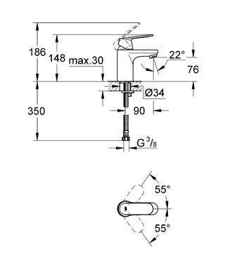 Grohe Lavabo Bataryası Eurosmart Cosmo S-Boyut Krom - 32824000