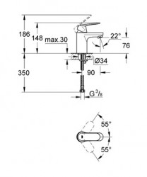 Grohe Lavabo Bataryası Eurosmart Cosmo S-Boyut Krom - 32824000 - Thumbnail