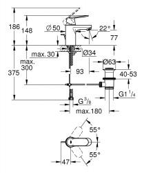 Grohe Lavabo Bataryası Eurosmart Cosmo S-Boyut Krom - 3282500E - Thumbnail