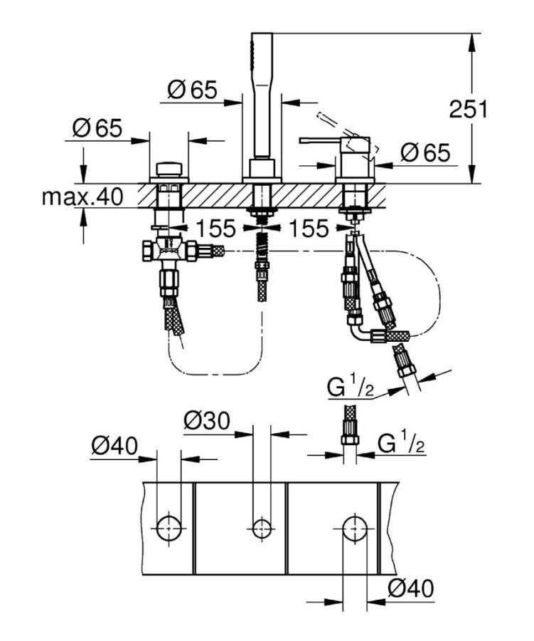 Grohe Essence 3 Delikli Küvet Bataryası - 19976001