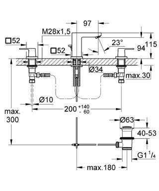 Grohe Eurocube 3 Delikli Lavabo Bataryası - 20351000