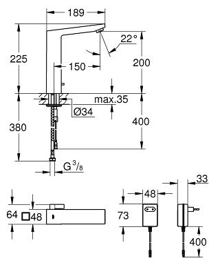Grohe Fotoselli Lavabo Bataryası Elektrikli çift sugiriş 36440000