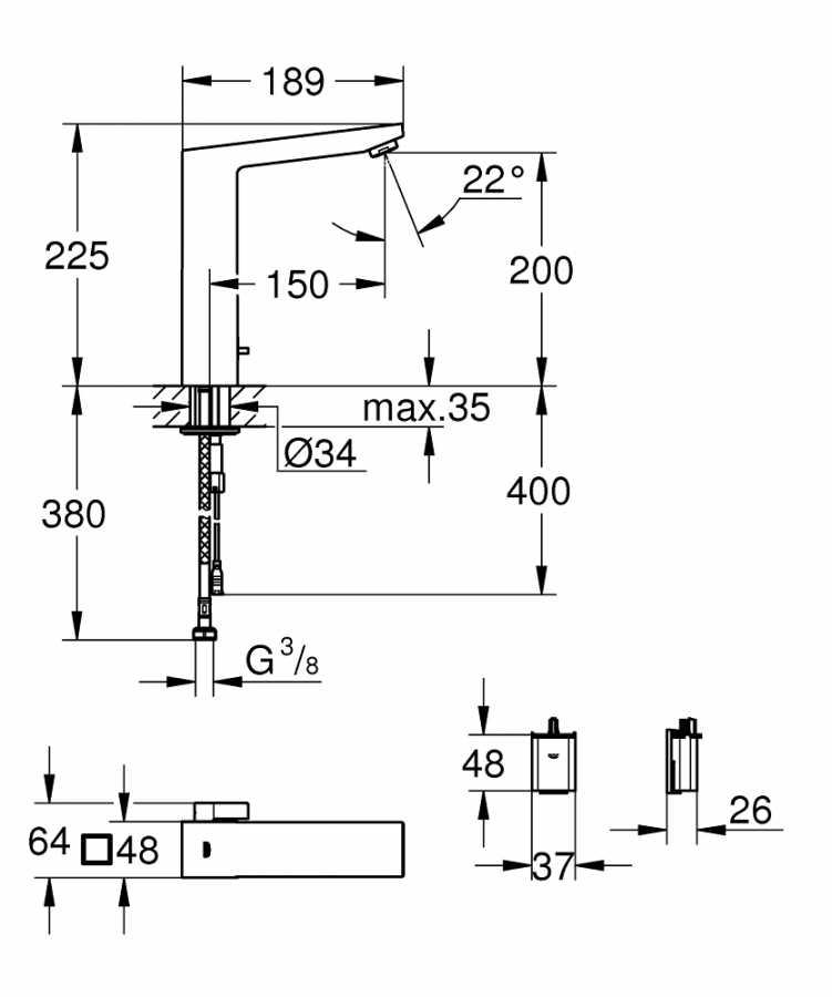 Grohe Fotoselli Lavabo Bataryası Pilli çift su girişli 36441000