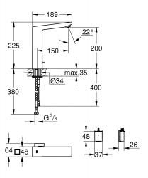 Grohe Fotoselli Lavabo Bataryası Pilli çift su girişli 36441000 - Thumbnail