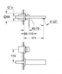 Grohe Eurocube İki Delikli Duvardan Lavabo Bataryası - 19895000 - Thumbnail