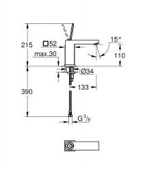 Grohe Lavabo Bataryası Eurocube Joy M-Boyut Krom - 23658000 - Thumbnail