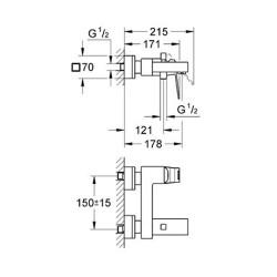 Grohe Eurocube Tek Kumandalı Banyo Bataryası - 23140000 - Thumbnail