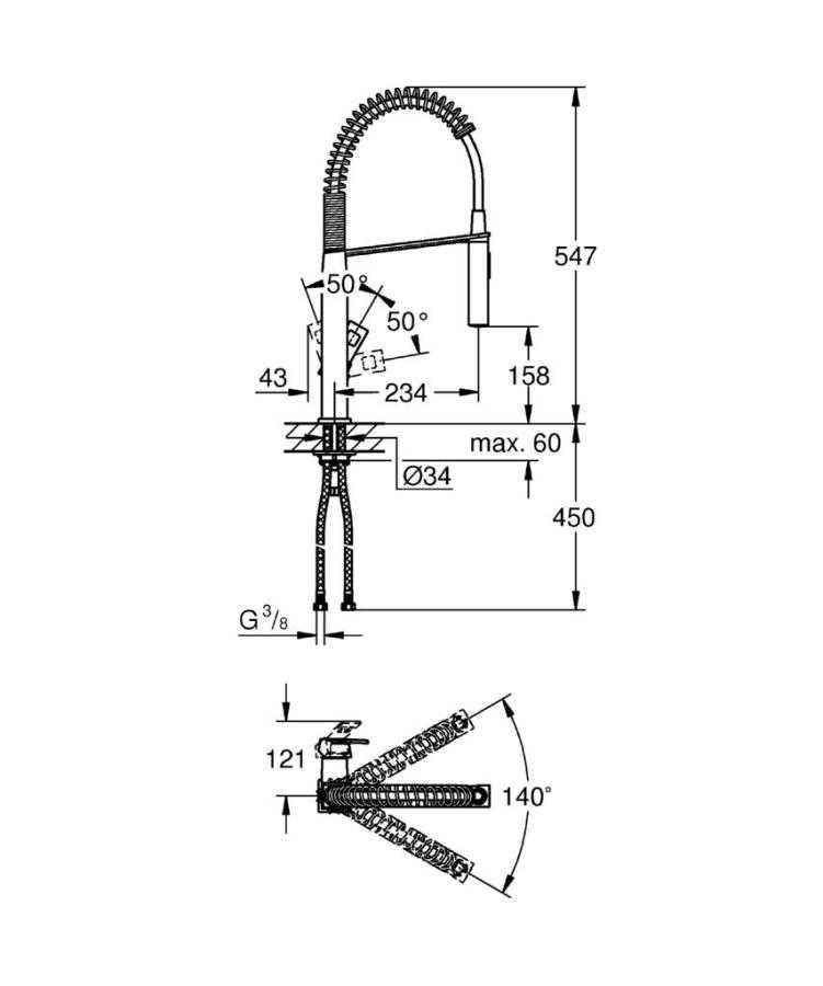 Grohe Eviye Bataryası Spiralli 2 Fonk Prof. Cube S.Steel-31395DC0