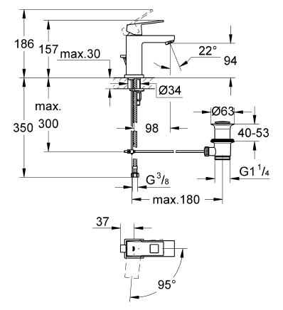 Grohe Lavabo Bataryası Eurocube S-Boyut Krom- 2339000E