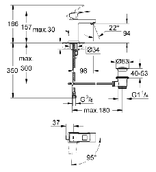 Grohe Lavabo Bataryası Eurocube S-Boyut Krom- 2339000E - Thumbnail