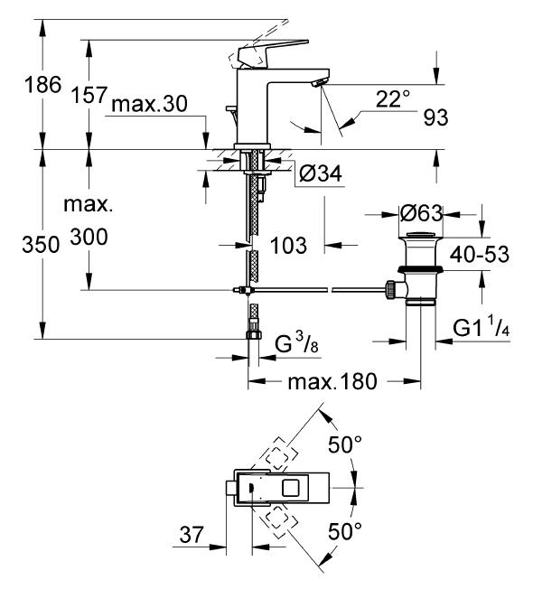 Grohe Lavabo Bataryası Eurocube S-Boyut Krom - 2312700E