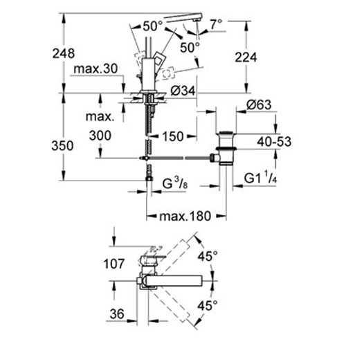 Grohe Eurocube Tek Kumandalı Lavabo Bataryası - 2313500E