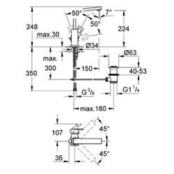 Grohe Eurocube Tek Kumandalı Lavabo Bataryası - 2313500E - Thumbnail