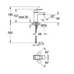 Grohe Eurocube Tek Kumandalı Lavabo Bataryası - 23132000 - Thumbnail