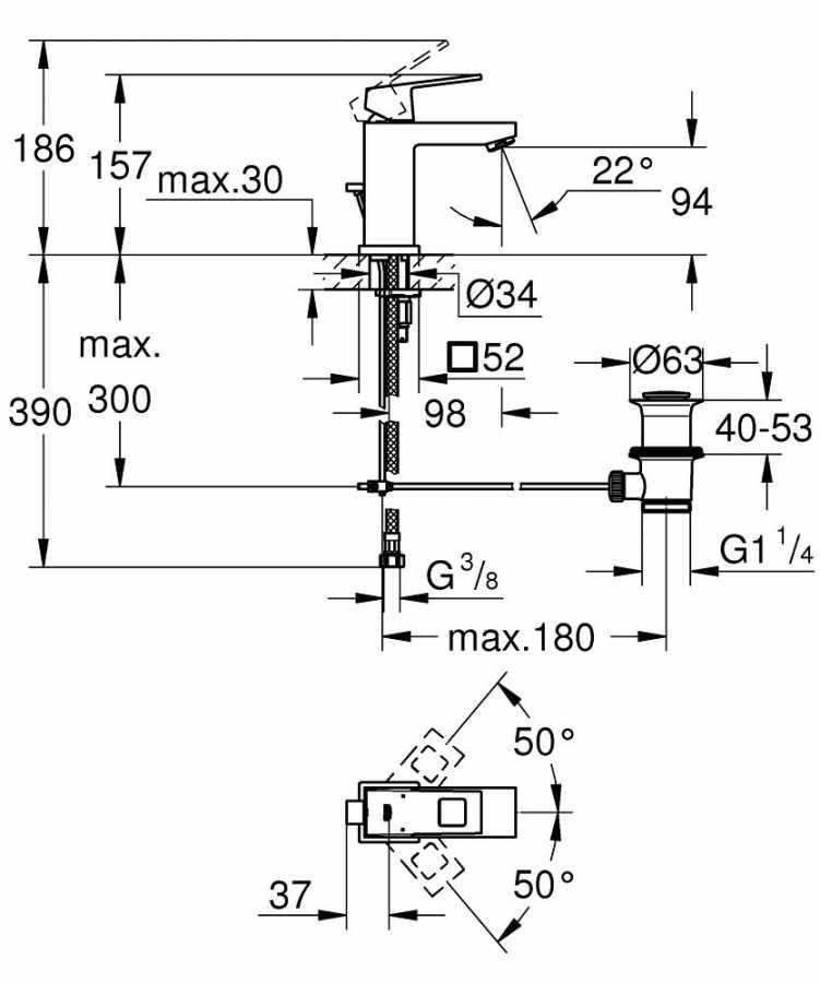 Grohe Lavabo Bataryası Eurocube S-Boyut Krom - 23127000