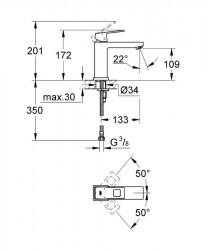 Grohe Eurocube Tek Kumandalı Lavabo Bataryası - 23446000 - Thumbnail