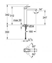 Grohe Eurocube Tek Kumandalı Lavabo Bataryası XL- Boyut - Thumbnail