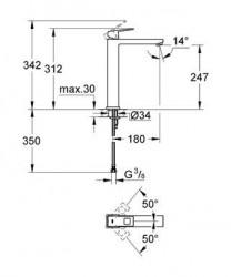 Grohe Eurocube Tek Kumandalı Lavabo Bataryası XL- Boyut - 23406000 - Thumbnail