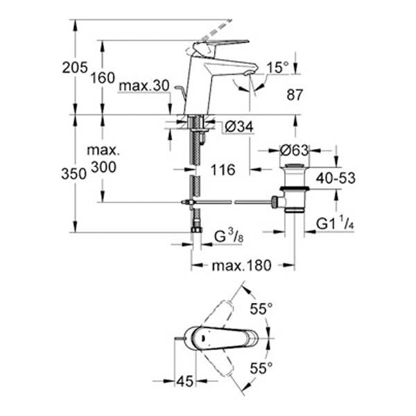 Grohe Lavabo Bataryası Eurodisc Cosmo S-Boyut Krom- 33190002