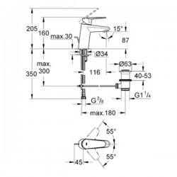Grohe Lavabo Bataryası Eurodisc Cosmo S-Boyut Krom- 33190002 - Thumbnail