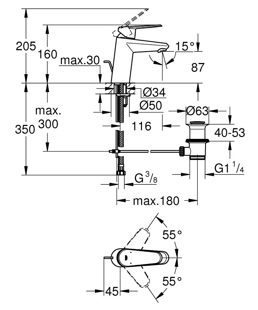 Grohe Lavabo Bataryası Eurodisc Cosmo S-Boyut Krom - 3319020E