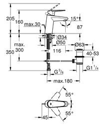 Grohe Lavabo Bataryası Eurodisc Cosmo S-Boyut Krom - 3319020E - Thumbnail