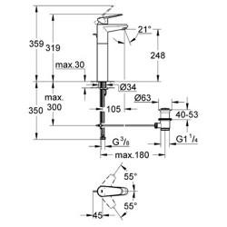 Grohe Çanak Lavabo Bataryası Eurodisc C. XL-Boyut Krom - 23055002 - Thumbnail