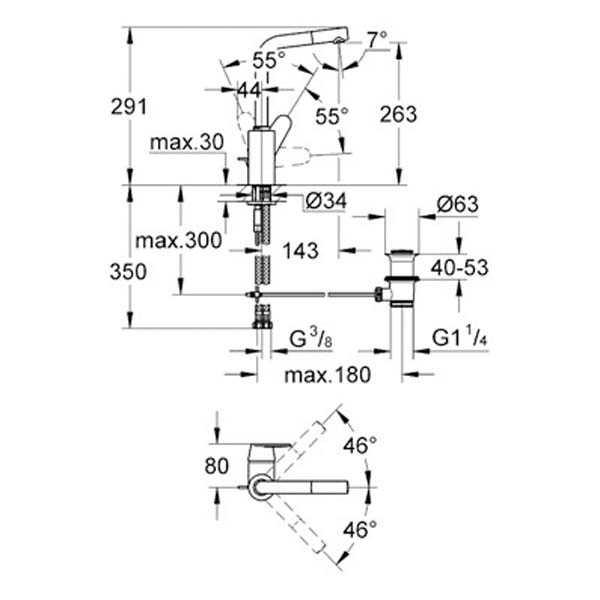 Grohe Lavabo Bataryası Eurodisc Cosmo L-Boyut Krom - 23054002
