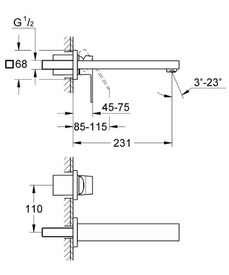Grohe Eurocube İki Delikli Duvardan Lavabo Bataryası M-Boyut