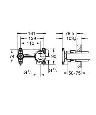 GROHE - Grohe Eurodisc Joy Tek Kumandalı Lavabo Bataryaları İçin İç Gövde - 23429000 (1)