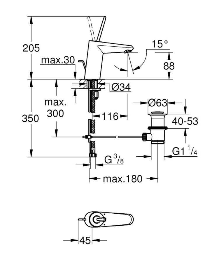 Grohe Eurodisc Joy Tek Kumandalı Lavabo Bataryası - 23425LS0