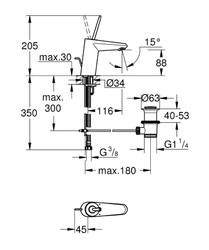 Grohe Eurodisc Joy Tek Kumandalı Lavabo Bataryası - 23425LS0 - Thumbnail