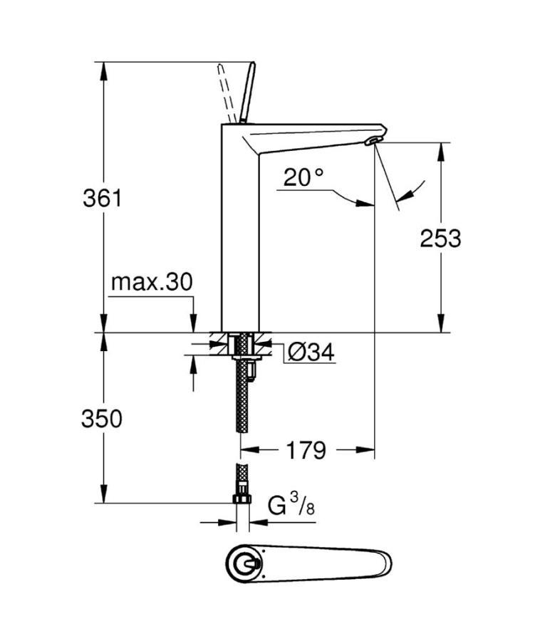 Grohe Eurodisc Joy Tek Kumandalı Çanak Lavabo Bataryası XL-Boyut - 23428000