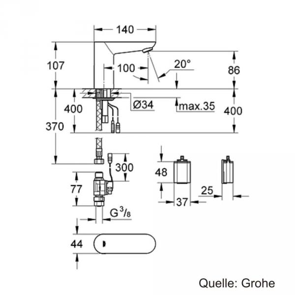 Grohe Fotoselli Lavabo Bataryası Pilli tek su girişli 36271000