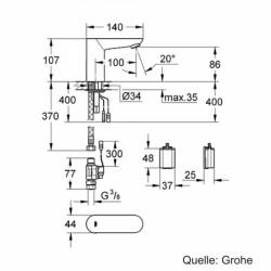 Grohe Fotoselli Lavabo Bataryası Pilli tek su girişli 36271000 - Thumbnail