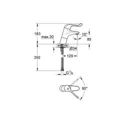 Grohe Lavabo Bataryası Engelli Kullanımına Uygun Krom - 32790000 - Thumbnail