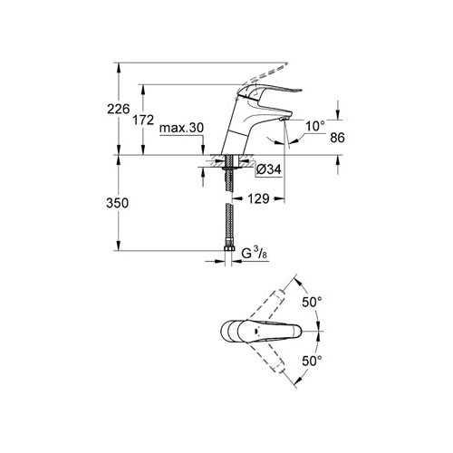 Grohe Euroeco Special Uzun Kumanda Kollu Lavabo Bataryası - 32765000