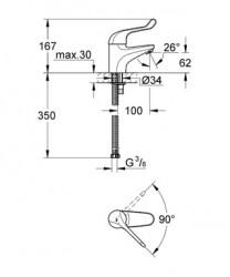 Euroeco SSC Uzun Kumanda Kollu Lavabo Bataryası - 32789000 - Thumbnail