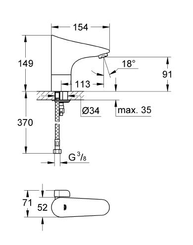Grohe Europlus E Fotoselli Lavabo Bataryası, Çift Su Girişli Pilli - 36207001