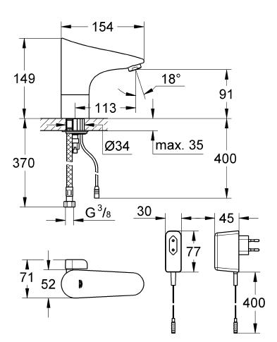 Grohe Europlus E Fotoselli Lavabo Bataryası, Çift Su Girişli Elektrikli - 36015001