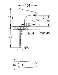 Grohe Europlus E Fotoselli Lavabo Bataryası, Tek Su Girişli Pilli - 36208001 - Thumbnail