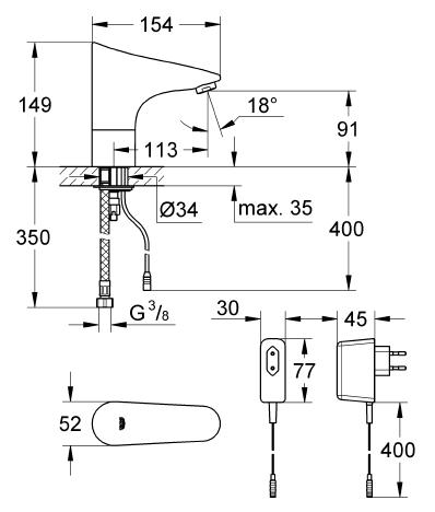 Grohe Europlus E Fotoselli Lavabo Bataryası, Tek Su Girişli Elektrikli - 36016001