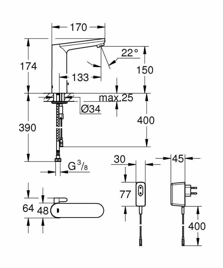 Grohe Fotoselli Lavabo Bataryası Elektrikli çift sugiriş 36421000