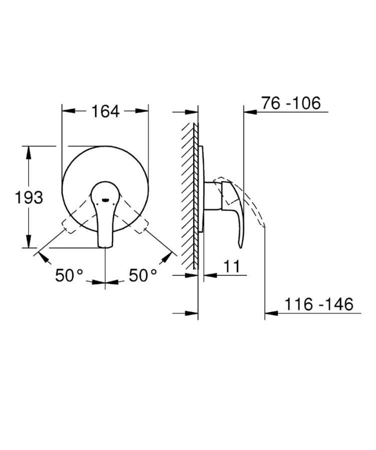 Grohe Eurosmart Tek Kumandalı Duş Bataryası - 19451002