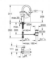 Grohe Eurosmart Tek Kumandalı Lavabo Bataryası L-Boyut - 23537002 - Thumbnail